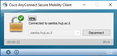 חלון שמראה שהתוכנה מחוברת