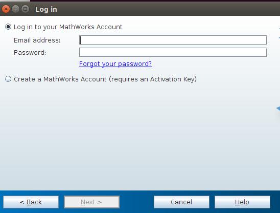 הכנסת פרטי חשבון MathWorks