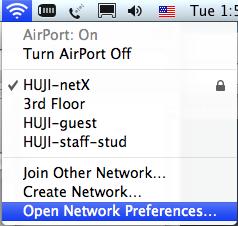כניסה ל'Open network preferences'