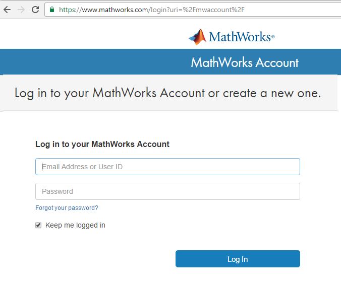 כניסה לחשבון MathWorks