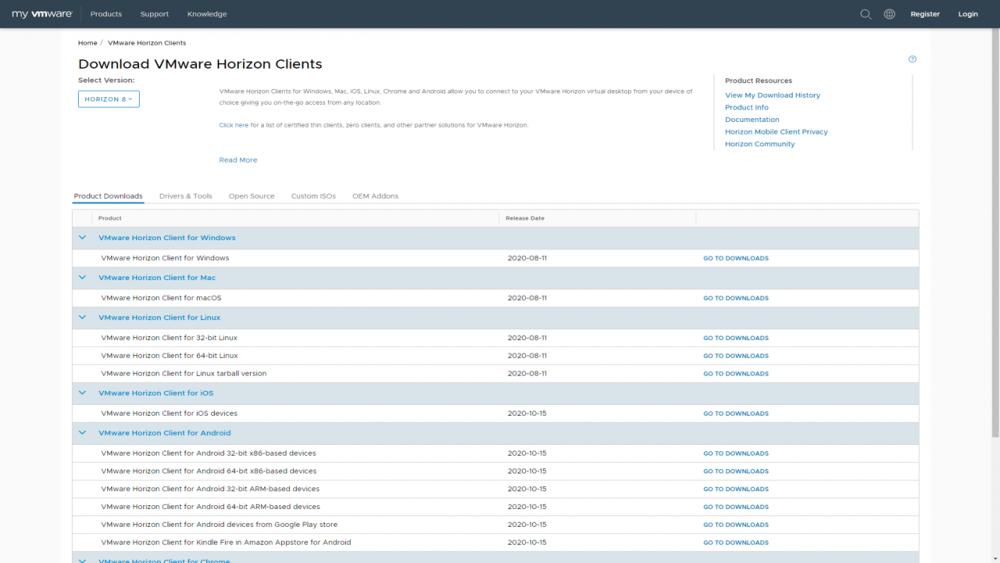 VMware Horizon Client Download page